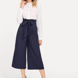 Paper bag wide leg pants